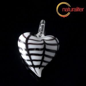 Výprodej - Skleněné srdce černobílé - přívěsek
