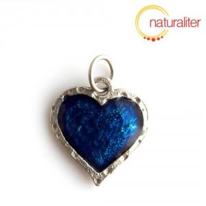Srdce - přívěsek modrý 22x20mm