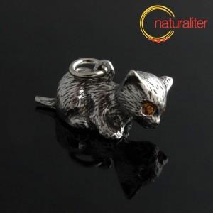 Kotě - přívěsek starostříbro 26x12mm