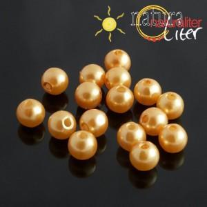 Voskované perly, zlaté, 8mm, 50ks
