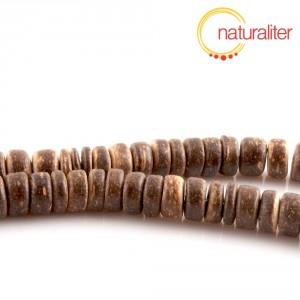 Korálky z kokosu hnědé, rondelka 8mm, návlek 40cm