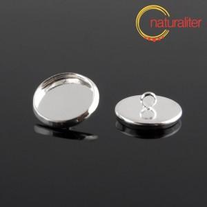 Knoflík - lůžko kruh 12mm stříbrná barva