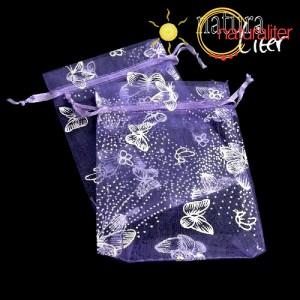 Dárkový organzový sáček fialový s motýly 12x9cm