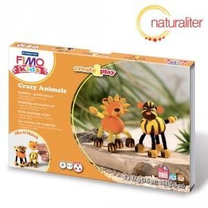 Sada FIMO kids create&play bláznivá zvířátka - Lev a tygr