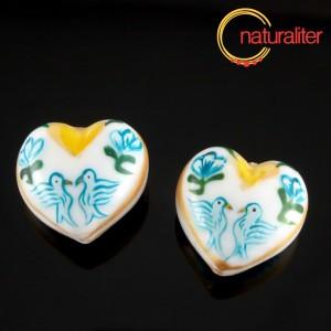 Výprodej - Ručně malovaný skleněný korálek - srdce