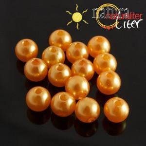 Voskované perly, oranžové, 8mm, 50ks