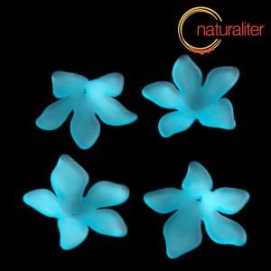 Květina akrylová - lilie 27mm světle modrá, 4ks
