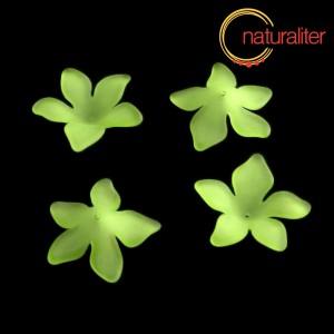 Květina akrylová - lilie 27mm zelená, 4ks