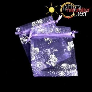 Dárkový organzový sáček 9x7cm fialový s motýly