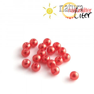 Voskované perly, červené, 4mm, 100ks
