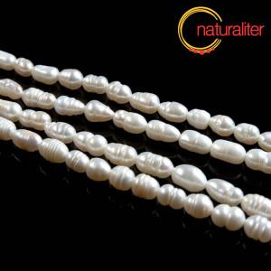 Říční perly rýžové bílé, 6x5mm, B, návlek 35cm
