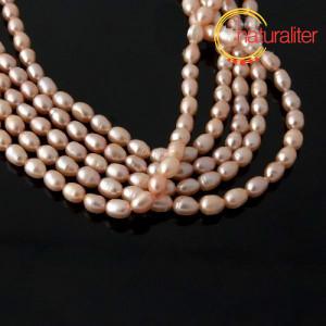 Říční perly rýžové růžové, 5-6 mm, návlek 36cm