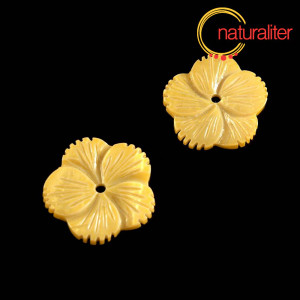 Výprodej - Perleťový květ 24mm žlutý