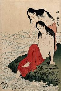 Dvě japonské Amy sledující ryby